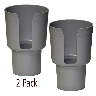 "Gadjit Cup Keeper Adapter (2 Pk) expands Narrow Car Cup Holders from 2.5-3"" up to 3.25"" in Diameter to Hold Mugs, Convenience Store Cups, Water + Soda Bottles up to 3.25"" Wide and 8-10"" Tall (Gray): GPS & Navigation"