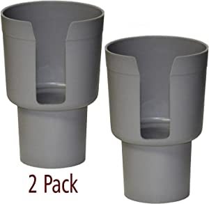 "Gadjit Cup Keeper Adapter (2 Pk) expands Narrow Car Cup Holders from 2.5-3"" up to 3.25"" in Diameter to Hold Mugs, Convenience Store Cups, Water + Soda Bottles up to 3.25"" Wide and 8-10"" Tall (Gray)"