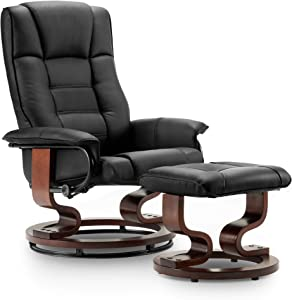 Mcombo Swiveling Recliner Chair with Wrapped Wood Base and Matching Ottoman Footrest, Furniture Casual Chair, Faux Leather 9019 (Black)
