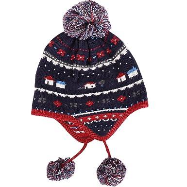 Tyidalin Bonnet Bébé Garçon Chaud Crochet Tricot Pompon en Coton pour Hiver  Automne Chapeau Enfant Protection Oreille pour 6 Mois - 10 Ans  Amazon.fr   ... c2b2b24cd67