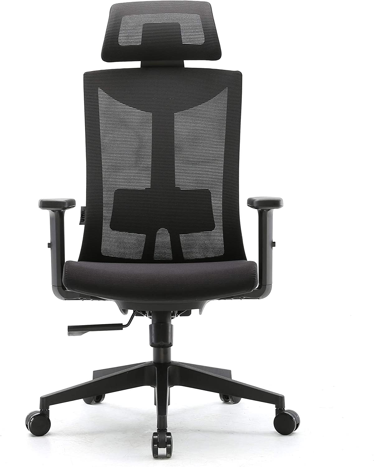 Amazon Brand - Umi Ergonomic office chair, Swivelling Mesh Computer Chair with Adjustable Lumbar Support and PU Armrests, Breathable Mesh Back and Padded Seat Desk Chair for work, 150 kg Max Load