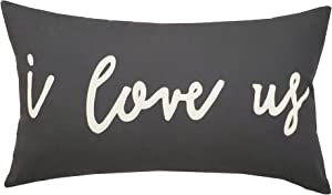 "EURASIA DECOR DecorHouzz I Love us Appliqued Decorative Cushion Cover Pillow Cases Cover Standard Throw Pillow Case Couple Wedding Love Gift 14""x24"" (14x24, Grey)"
