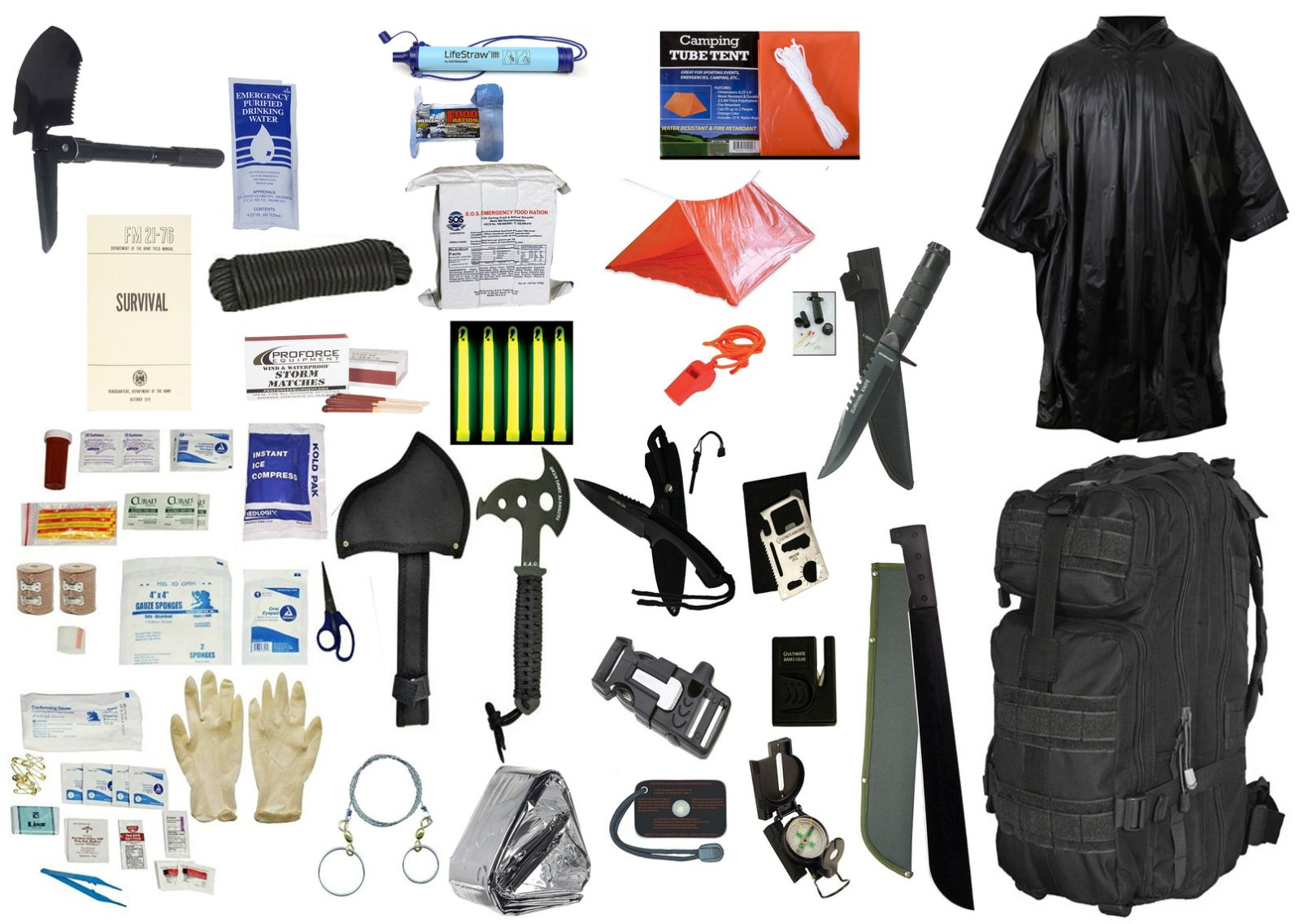 1 Person Supply 5 Day Emergency Bug Out S.O.S. Food Rations, Drinking Water, LifeStraw Personal Water Filter, First Aid Kit, Tent, Blanket, Backpack, Poncho + Essential 21 Piece Survival Gear Set
