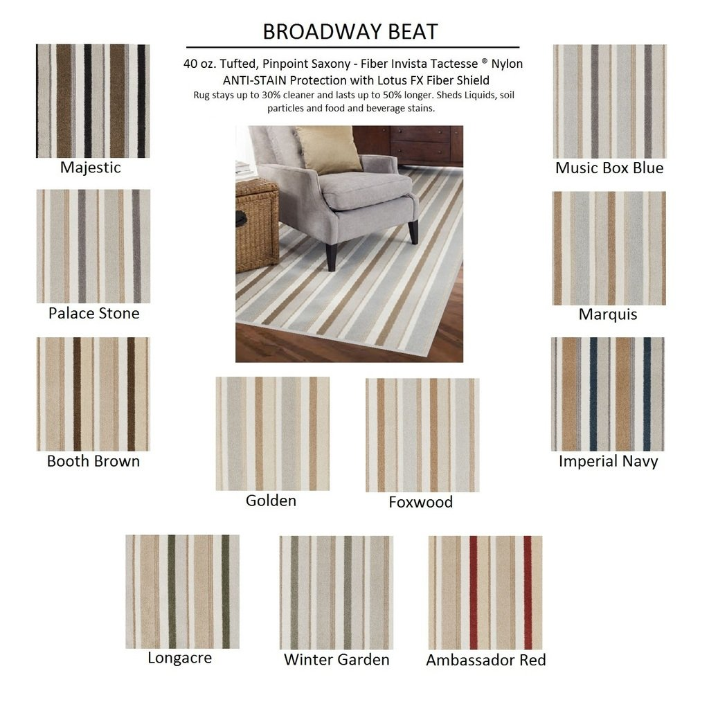 Amazon.com: 8u0027x10u0027 WINTER GARDEN   BROADWAY BEAT STRIPES   Custom Carpet  Area Rug   40 Oz. Tufted, Pinpoint Saxony   Nylon By Milliken (11 Colors To  Choose ...
