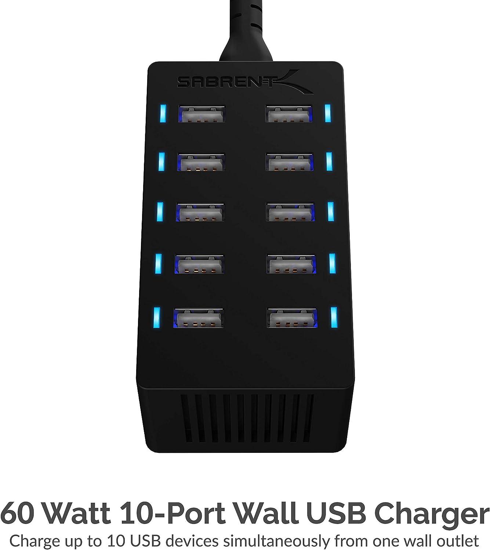 AX-TPCS 12 Amp UL Certified 10-Port Black Family-Sized Desktop USB Rapid Charger Sabrent 60 Watt Smart USB Ports with Auto Detect Technology