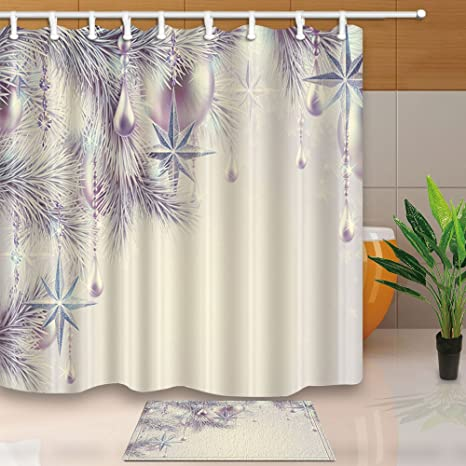 ChuaMi Polyester Fabric 70 X 82 Inches Shower Curtain Set With Hooks Mildew Resistant Waterproof Bath