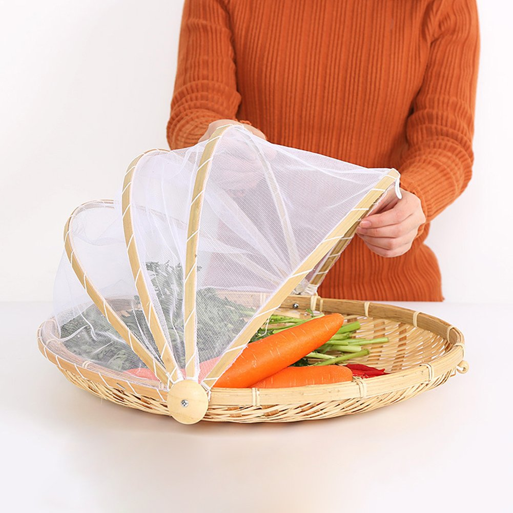 Hand-Woven Food Serving Tent Basket, Fruit Vegetable Bread Cover Storage Container Outdoor Picnic Food Cover Mesh Tent Basket with Gauze(Bug- Proof, Dust-Proof) Keep Out Flies, Bugs, Mosquitoes (L)