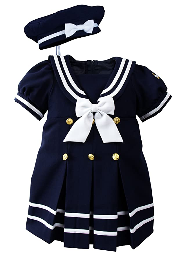 1930s Childrens Fashion: Girls, Boys, Toddler, Baby Costumes Baby Toddler Girls Nautical Sailor Dress with Hat $33.95 AT vintagedancer.com