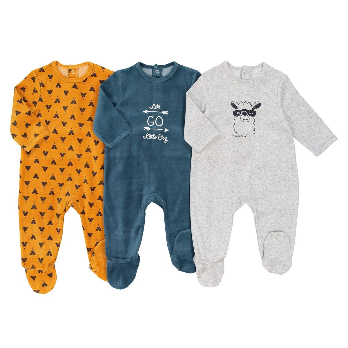 La Redoute Collections Big Boys Pack of 3 Velour Sleepsuits Birth-3 Years