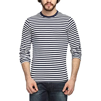 d656a42fe5f6 GOODTRY Men's Cotton Striped Round Neck Full Sleeve T-Shirt- NavyGTMRF-063-