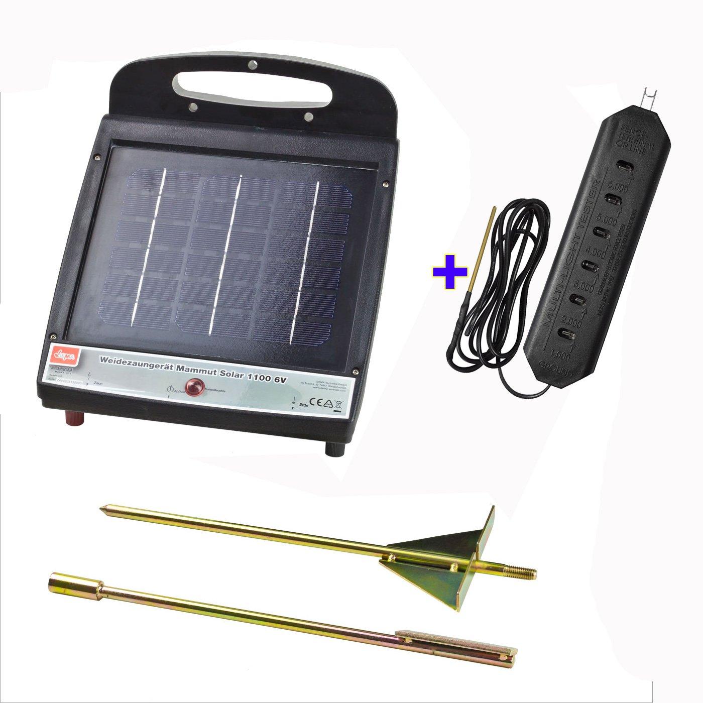 Weidezaungerät Mammut Solar 1100 6V inkl. Solarpanel & Akku PLUS Zaunprüfer