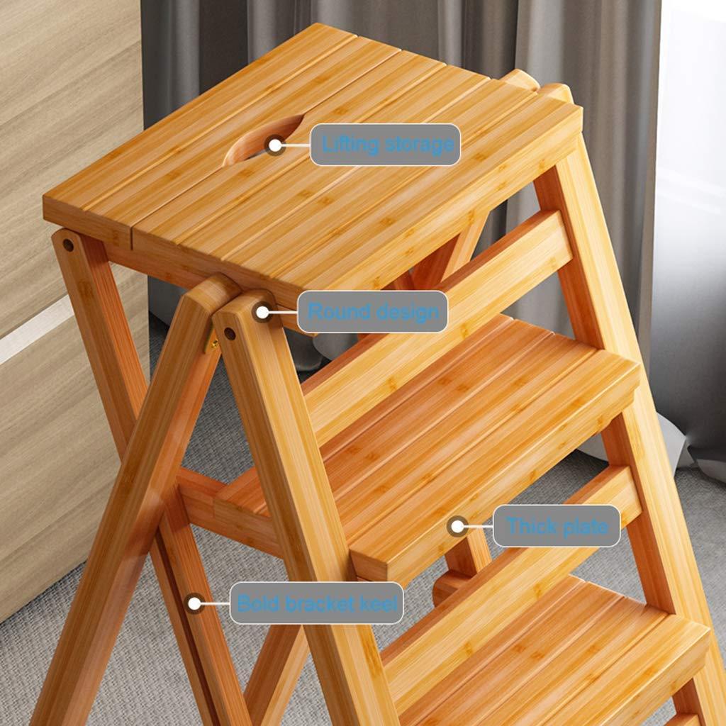 Vuxna stol trappa säte med 4 steg massivt trä fällbara sitspedar Heavy Duty for Hausgart-bibliotek kök kontor bredd, splittring med handtag, B, (färg: C) c