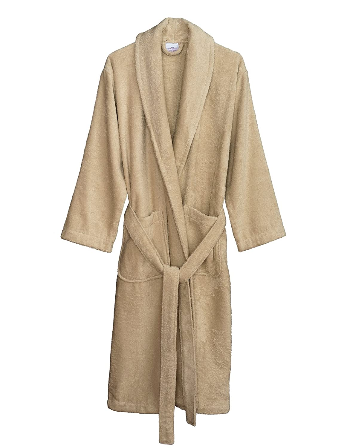 Creme Brulee TowelSelections Turkish Cotton Bathrobe Terry Shawl Robe Made in Turkey