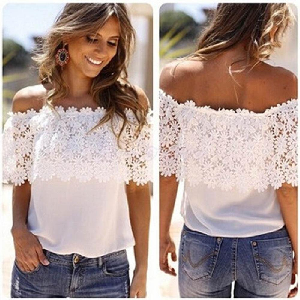 ZZpioneer Women's Summer Lace Crochet Chiffon Shirt Casual Off Shoulder Short Sleeve Tops Tees(M,White) by ZZpioneer (Image #2)