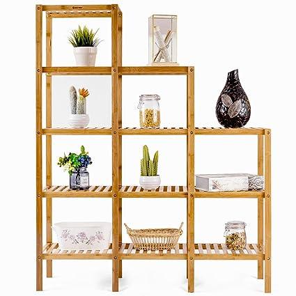 Bamboo Shelf Storage Rack 9 Pots Plant Stand Display Organizer Multifunctional