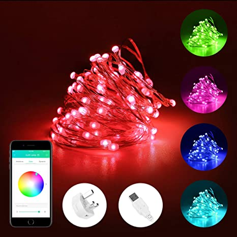 best website 3fc5d 25ee7 iLUX 10m Smart Copper String Lights, Bluetooth & APP Control LED Fairy  Lights, RGB Multicolored, USB Powered, Voice/Music Sync, IP65 Waterproof ...