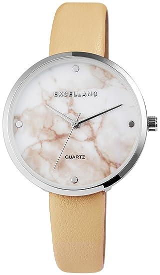 Reloj mujer Blanco Beige Plata mármol de piel Look analógico de cuarzo reloj de pulsera