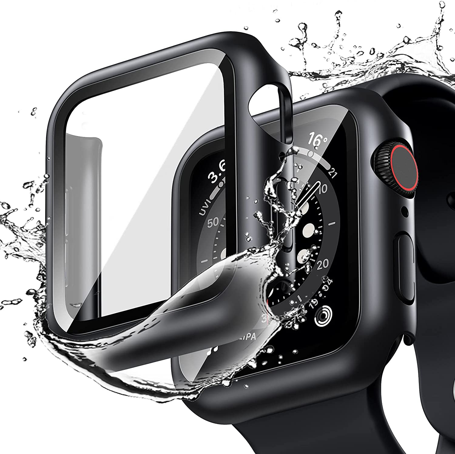 [2 Pack] Goton Waterproof Case Compatible for Apple Watch SE Series 6 /5 /4 44mm Case with Screen Protector, PC Matte Hard HD Tempered Glass Full Face Cover Protective Bumper Watch Case Accessories for iwatch women men (Black+Black, 44mm)