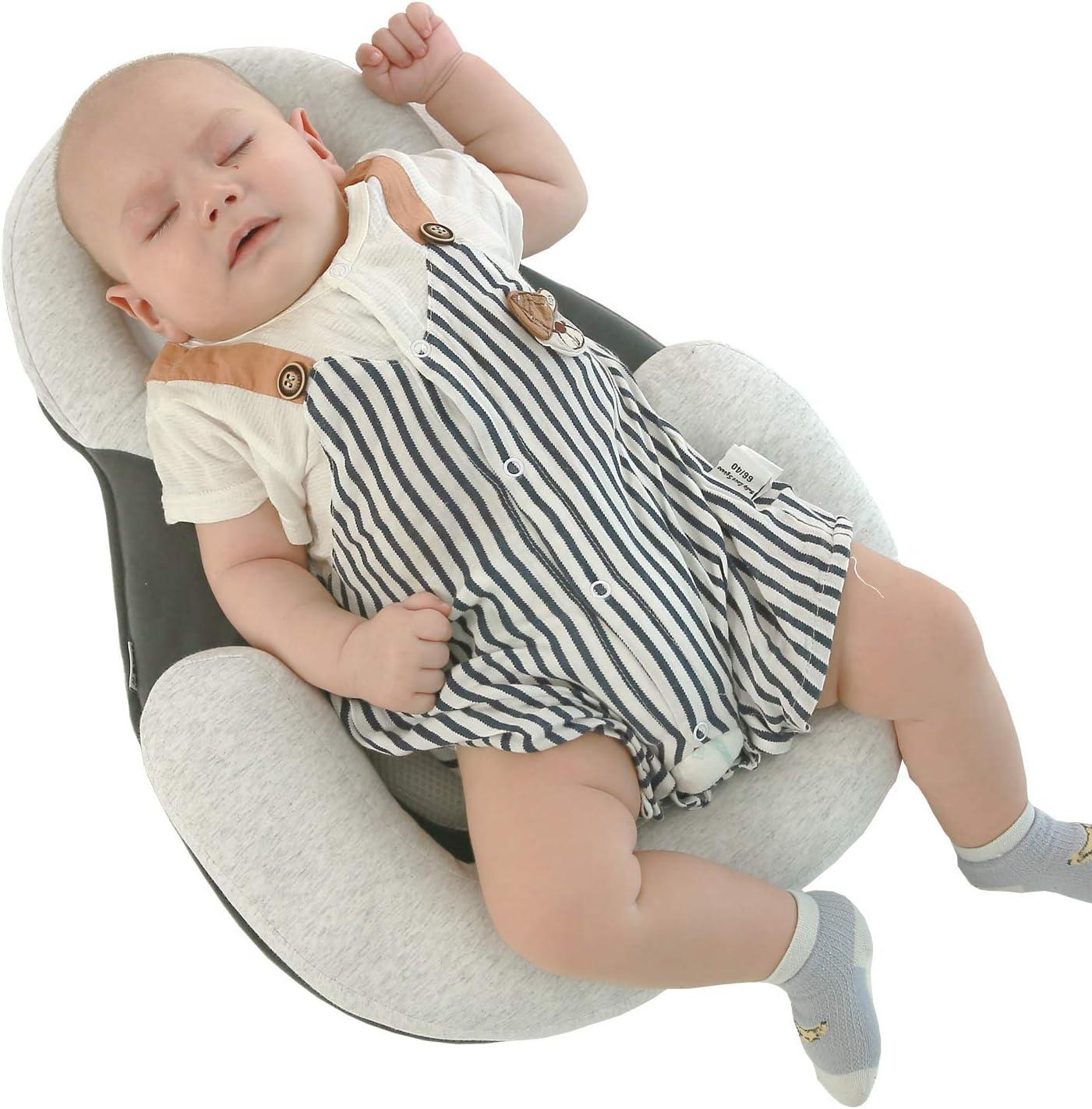 tragbares atmungsaktives Kopfformkissen f/ür Babys Anti-Kopf-Seitenschlafkissen f/ür Babys weiches Formkissen f/ür Babys f/ür 0-12 Monate Khaki
