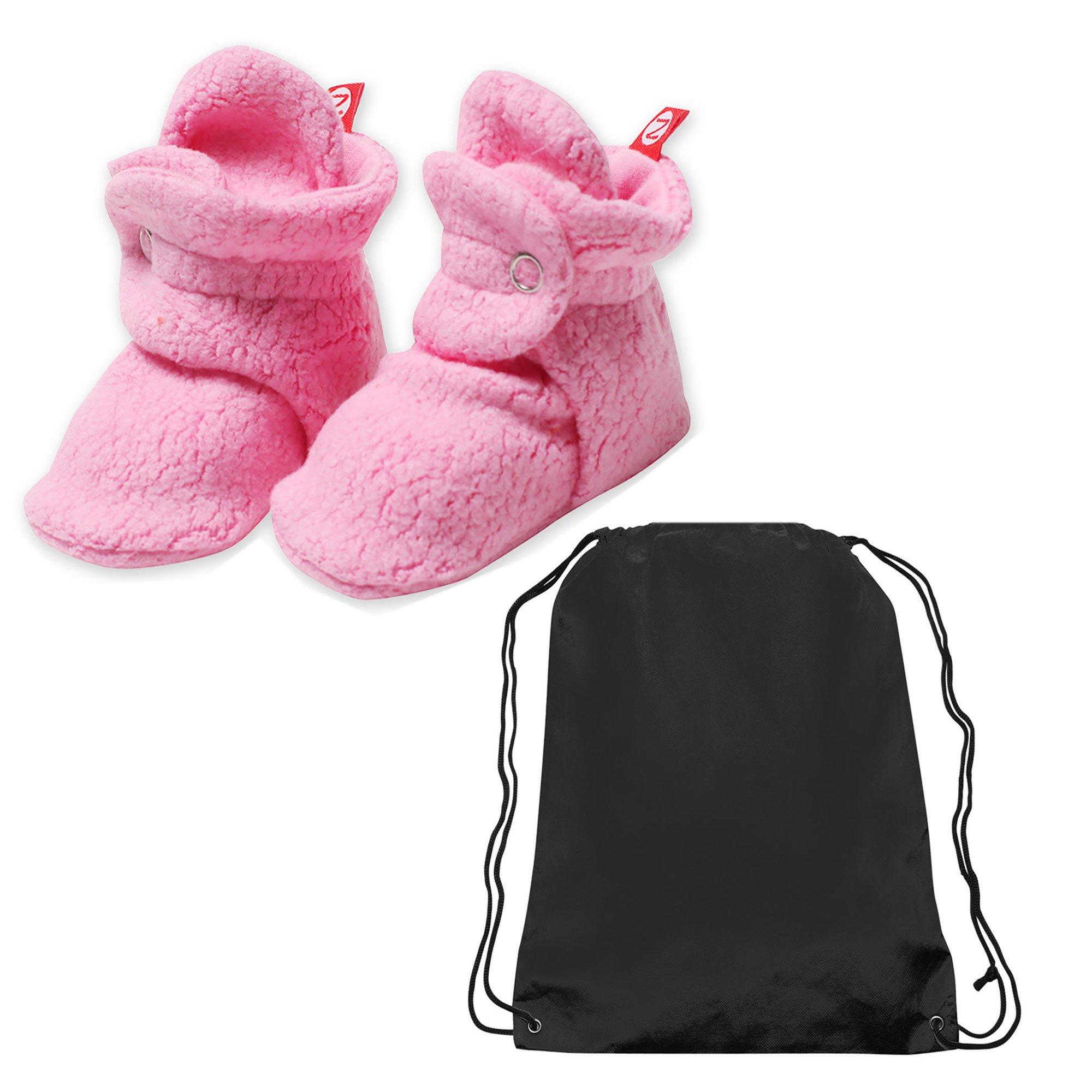 Zutano Booties Baby Girls Fleece Slipper Socks and Toy Bag - Hot Pink - 3 Months