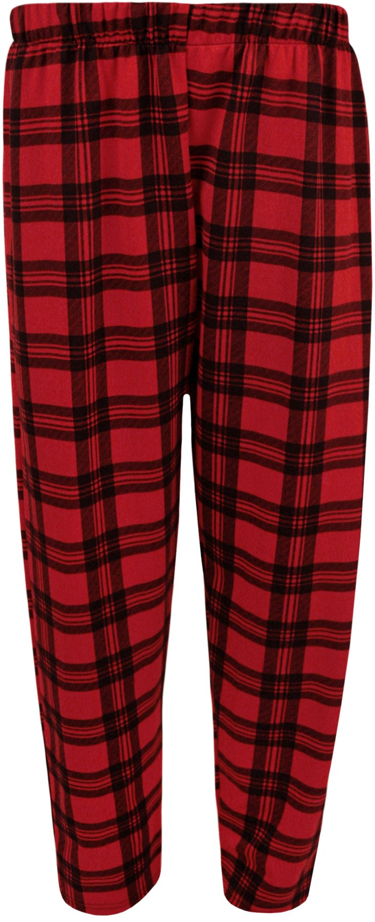 WearAll Women's Women's Plus Size Tartan Check Print Elastic Waist Ladies Long Pants - Red - US 16 (UK 20)