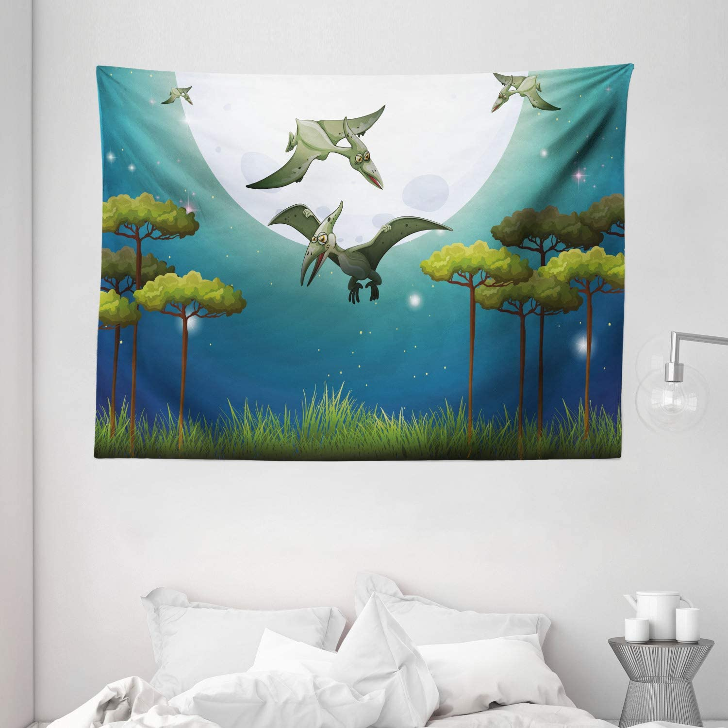 Amazon Com Ambesonne Dinosaur Tapestry Cartoon Style Dinosaurs Flying On Full Moon Magical Night Enchanted Forest Wall Hanging For Bedroom Living Room Dorm 80 X 60 Green White Blue Home Kitchen