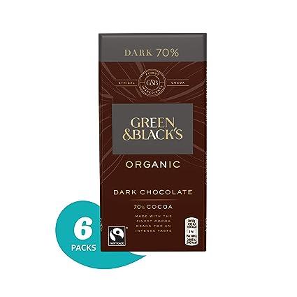 Green /& Black/'s Organic 70/% Dark Chocolate Bar 100g Pack of 5
