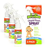 Baby Diaper Rash Cream Spray by Boogie Bottoms, No-Rub Touch Free Application for Sensitive Skin, Over 200 Sprays per Bottle, 1.7 oz, Pack of 3