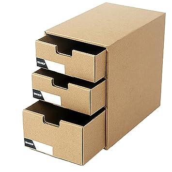 THEE 3 Capas Cajones de Almacenamiento de Escritorio de Papel Kraft Oficina Archivador: Amazon.es: Hogar