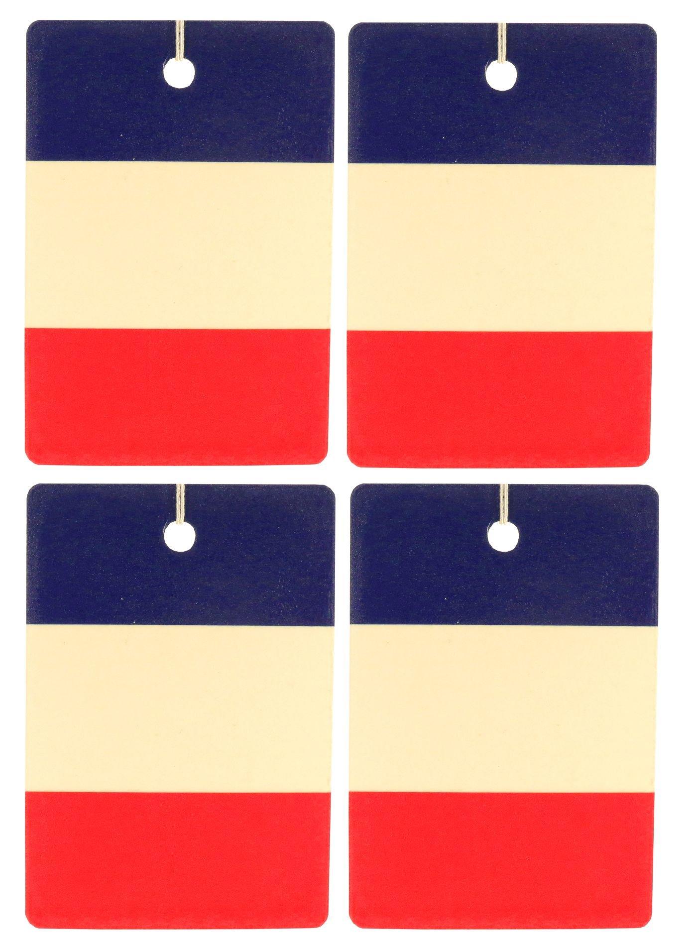 Set of Four French Flag Air Fresheners, Vertical, Cedarwood Essential Oil