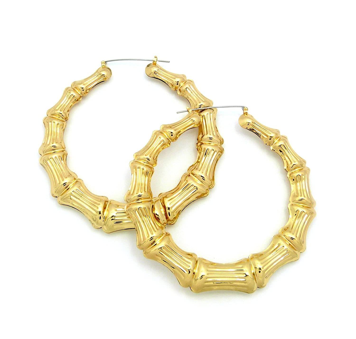 Amazon.com: Classic Bamboo Door Knocker Hoop Earrings, Gold-Tone ...