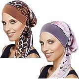 DORALLURE Vintage Silky Turban Women Chemo Cap Head Scarves Wide Band Pre-Tied Headwear