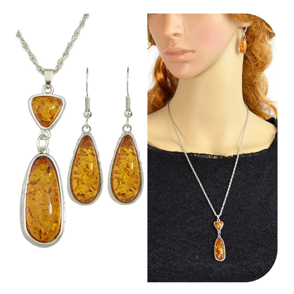 Feelontop® New Silver Chain Brown Green Amber Pendant Water Drop Necklace Earrings Set with Jewelry Pouch SE-7902