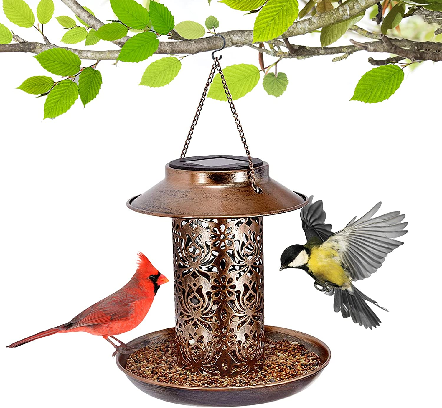 Metal Tube Panorama Top-Fill Wild Bird Feeder Solar Powered, Squirrel Proof, Hanging Bird Feeder Waterproof, Easy to Clean and Fill, Hummingbird Feeder for Outside, Yard Garden Decor