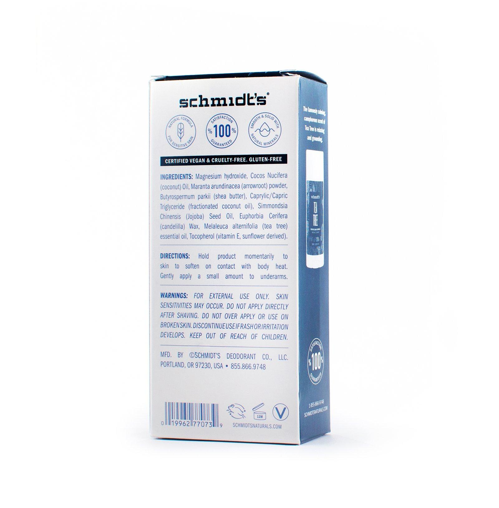 Schmidt's Natural Deodorant for Sensitive Skin - Tea Tree, 3.25 ounces. Stick for Women and Men by Schmidt's Deodorant (Image #3)