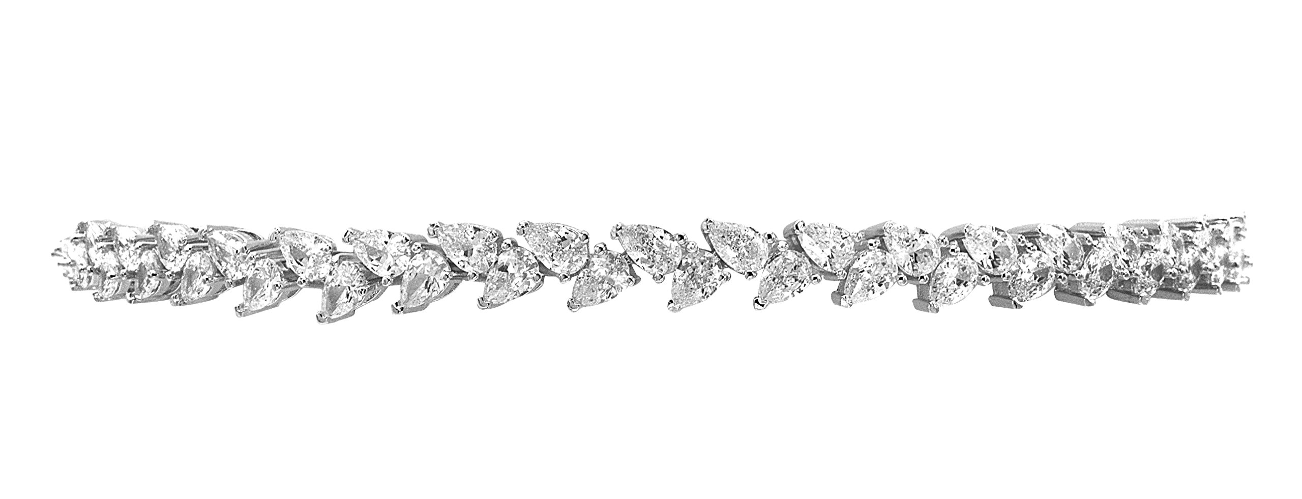 Samfa Style Pear Shaped Diamond Choker Necklace with Extension (silver-plated-brass)