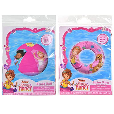 Disney Fancy Nancy Inflatable Swimming Float Ring 17.5 inches and Beach Ball 13.5 inches (2 Items)   Pool Beach Summer Party Accessory Air Blow Swim Floater Outdoor Fun Water Activity Toy for Kids: Toys & Games