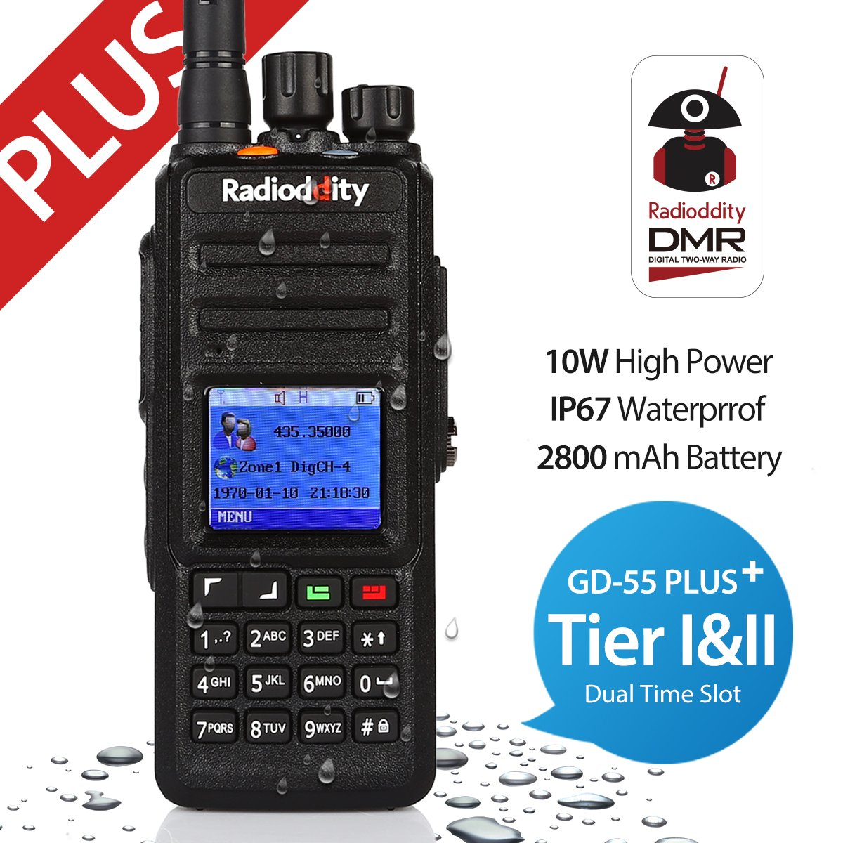 Radioddity * GD-55 Plus * 10W UHF DMR Digital Two Way Radio É metteur ré cepteur IP67 waterproof, Dual Time Slot, with Programming Cable and 2 Antennas, Compatible with Mototrbo TierⅠ&Ⅱ Compatible with Mototrbo TierⅠ &Ⅱ
