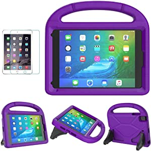 iPad Mini 1/2/3/4/5 Case for Kids, SUPLIK Durable Shockproof Protective Handle Bumper Stand Cover with Screen Protector for Apple 7.9 inch iPad Mini 5th (2019),4th,3rd,2nd,1st Generation, Purple