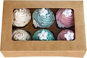 Cupcake Boxes with Inserts 6 Holders,9x6x3inch Large Brown Kraft Standard Bakery Boxes with Window Food Grade Cake Carrier Container for Muffins Gift Treat Box Bulk,Pack of 15