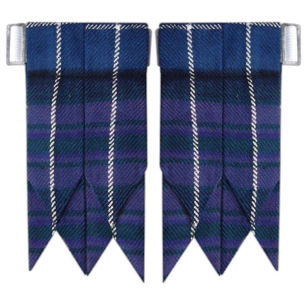 New Solid Plain Black, Royal Stewart Tartan Many More Kilt Flashes Multi Colors (Pride of Scotland)