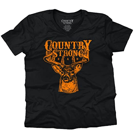 Brisco Brands Country Strong Deer Hunting Western Cowboy V Neck T