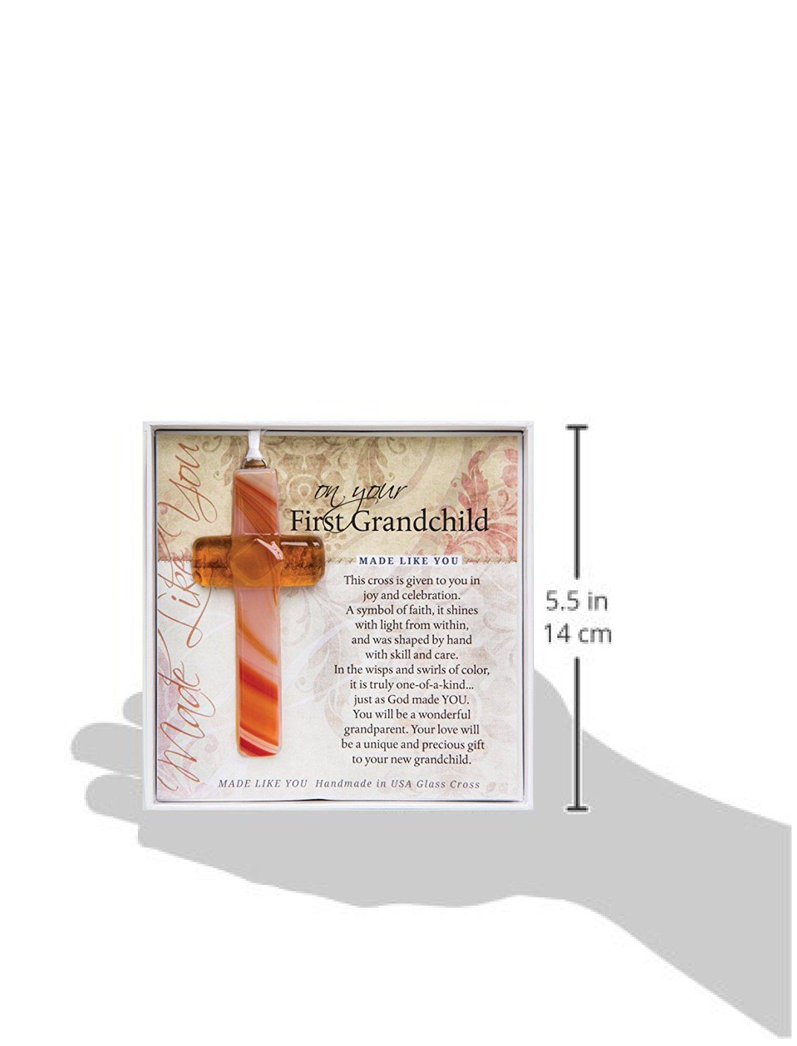 On Your First Grandchild Keepsake Glass Cross Gift for New Grandparents