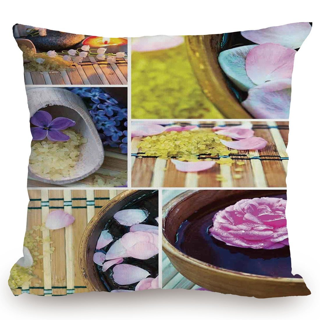 Throw Pillow Cushion Cover,Spa,Spa Organic Cosmetics Theme Wooden Bowl Petals Lavender Candle Pebbles Therapy Oil,Purple Brown,Decorative Square Accent Pillow Case