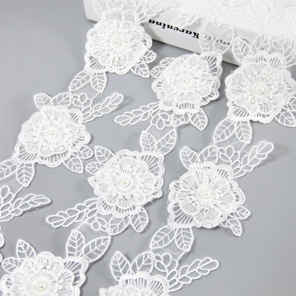 FQTANJU 5 Yard Heart 2 White Bow Lace Edge Trim Ribbon Wedding Applique DIY Sewing Crafts