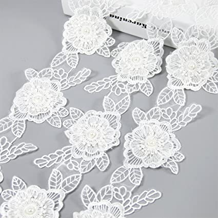 ba1bd159d5c86 White Flower Lace Trim Applique with Pearl Ribbon 5 Yards 3- Layer Sewing  DIY Craft Lace for Festival Wedding Party Birthday Bridal Shower Decoration  ...