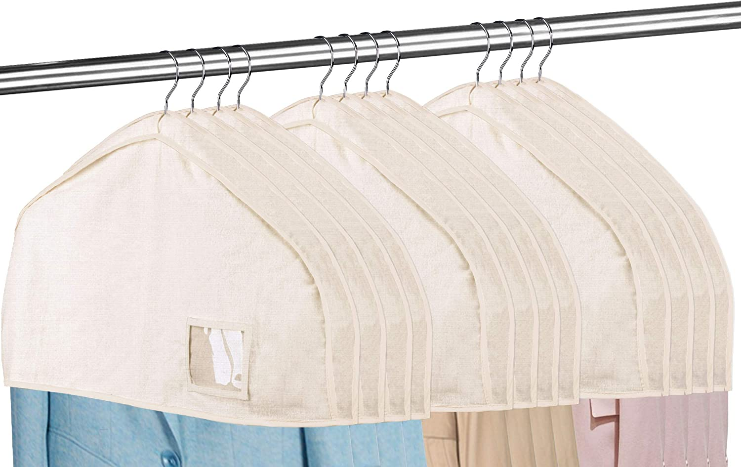 """MISSLO Cotton Shoulder Covers for Clothes Hanging Breathable Garment Bag Clothing Dust Protector Closet Storage with 2"""" Gusset for Suit, Jacket, Shirt, Coat, Dress (Set of 12)"""