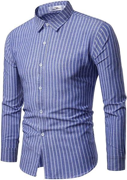 Rawdah Camisas Hombre Manga Larga Camisas Hombre Grandes Camisas Hombre Traje Slim Fit Camisas Casual Hombre Moda Negocio Ocio Impresión Rayas Camisa de Manga Larga Tops Blusa: Amazon.es: Ropa y accesorios