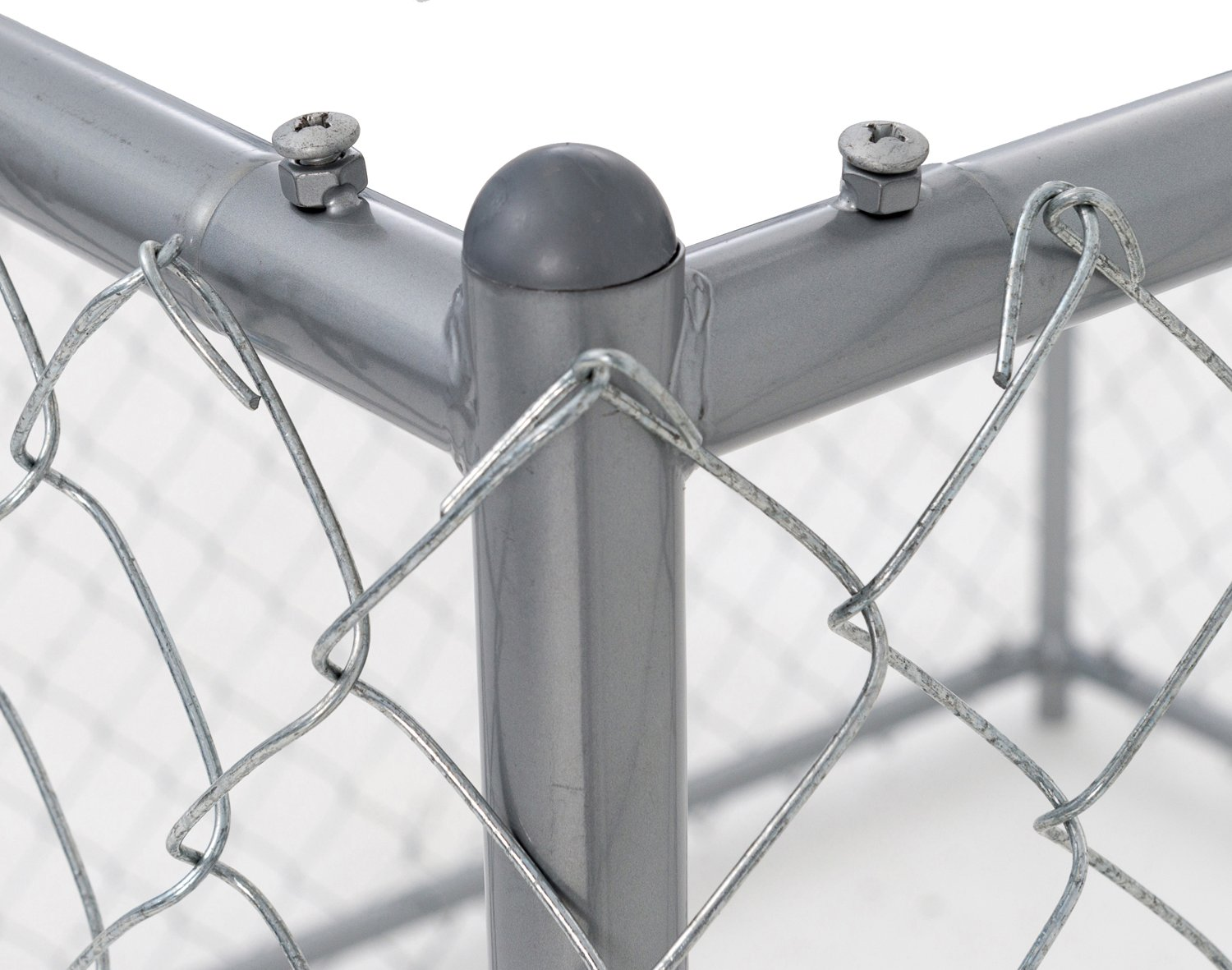 Chain Link Dog Kennel - Lucky Dog Outdoor Heavy Duty Pet Kennel - This Pet Cage System is Perfect For Containing Larger Dogs and Small Animals. Galvanized chain link doesn't kink or tangle. Two setup options (5'W x 15'L x 6'H or 10'W x 10'L x 6'H)