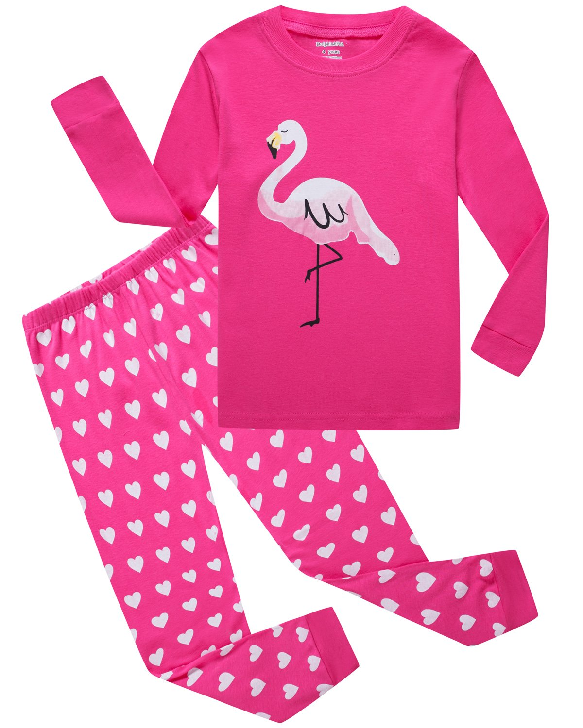 Girls Pajamas Flamingo Little Kids Pjs 100% Cotton Toddler Clothes Sleepwear Size 4T